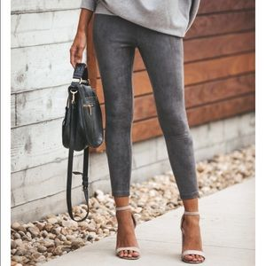 Pants - Charcoal Faux Suede Zip Leggings